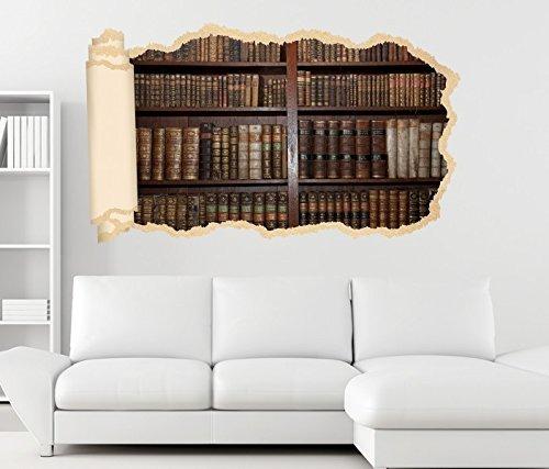 3D Wandtattoo alte Bücher Buch Regal antik Bibliothek Tapete Wand Aufkleber Wanddurchbruch Deko...