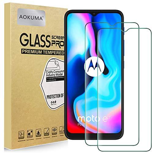 AOKUMA Cristal Templado Motorola Moto E7 Plus, [2 Unidades] Protector Pantalla para Motorola Moto E7 Plus Robusto Antiarañazos Antihuellas con Borde Redondeado Dureza 9H+ Antiburbujas