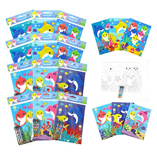 TINYMILLS Shark Family Coloring Book Set with 12 Coloring Books and 48 Crayons Shark Family Birthday Party Supplies Favor Bag Filler Carnival Prizes Rewards Stocking Stuffers Classroom Party