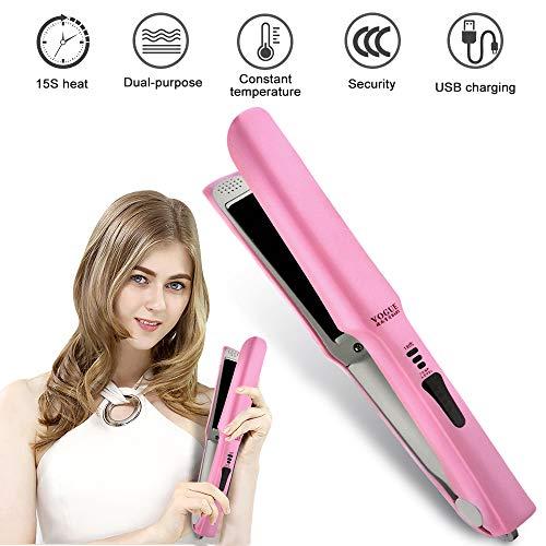 Mini Kabelloser Haarglätter Haarpflege, USB Glätteisen Locken und Glätten,Tragbar für USB-Aufladung Glättbürste Haarbürste Temperatursperrfunktion für Alle Haartypen(Pink)