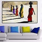 DCLZYF Estilo nórdico Mujer Africana Caminando en el Desierto Lienzo Pintura Carteles e Impresiones Cuadros artísticos de Pared para decoración de Sala de estar-70x100cm (sin Marco)