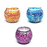 Phyther Handcrafted and Decorative Mosaic Glass Jar Aroma Candle Set for Home, Bathroom, and Decor. Lavender Scented for Aromatherapy, Relaxing, and Stress Relief