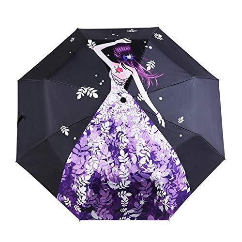 Mdsfe Cartoon Anime Mädchen automatischer Regenschirm Anti-Ultraviolett- und Regenschutz Faltschirm Sonnenschutz Regenschutz reflektierender Regenschirm - YD200048PU