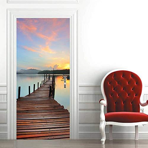 KEXIU 3D Muelle al atardecer del mar PVC fotografía adhesivo vinilo puerta pegatina cocina baño decoración mural 77x200cm