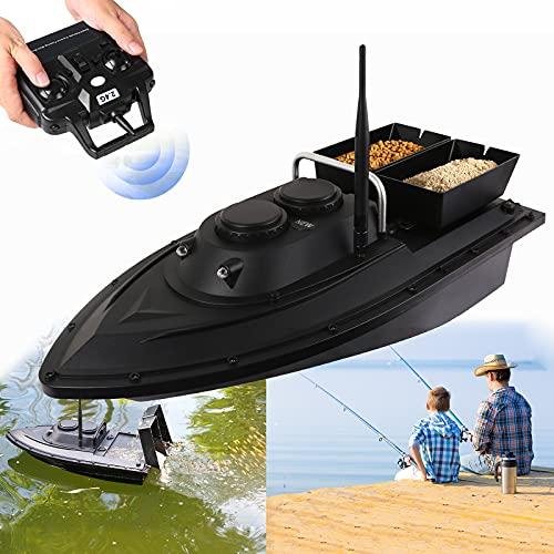Aocay Barcos Cebador, Barco Cebador Carpfishing con GPS 500 M de Control Remoto, Barco Teledirigido de Pesca, Bait Boat with 2 Hoppers para Entusiasta de la Pesca, 2 Baterías (9600mAh / 5200mA