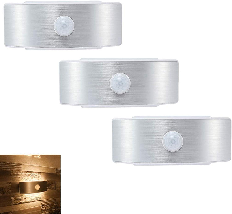 DONGBALA LED-Nachtlichter Wandleuchte Leadleds Batteriebetriebene Wandaufkleber-Wandhalterung mit Akku + USB-Aufladung für Schranktreppe (2-Packs),Gelb,3packs