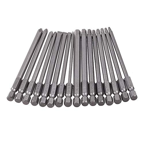 Rocaris 16 Pack 1/4 Inch Hex Shank Long Magnetic Screwdriver Bits Set 4 in Power Tools(Slotted+Cross+Hex+Plum blossom)