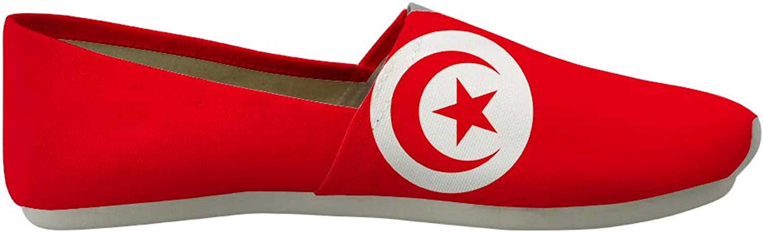 Owaheson Classic Canvas Slip-On Lightweight Driving shoes Soft Penny Loafers Men Women Tunisia Flag