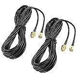 Mogzank Paquete de 2 Cables de ExtensióN de Antena WiFi de 33 Pies RP-SMA Conector Macho una Hembra para Puente de Enrutador LAN InaláMbrico