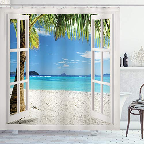 Ambesonne Turquoise Shower Curtain, Tropical Palm Trees on Island Ocean Beach Through White Wooden Windows, Cloth Fabric Bathroom Decor Set with Hooks, 70' Long, White Blue