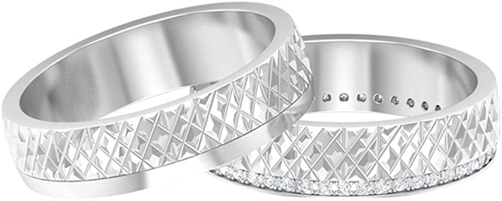 Rosec Jewels - Wedding Rings Set with Complete Free Shipping 1 Diamond 4 Choice HI-SI CT Engr