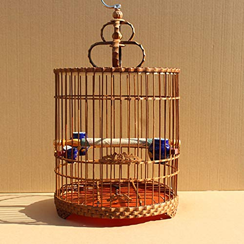 Bambú Duradero Pájaro Chino Vuelo Jaula Pájaro Cría Jaula Pájaro Baño Jaula Pájaro Redondo Pájaro Traje Pájaro Pájaro Pájaro Hábitat Pájaro Portador, Adecuado para Loros/Pájaros pequeños/Periquito