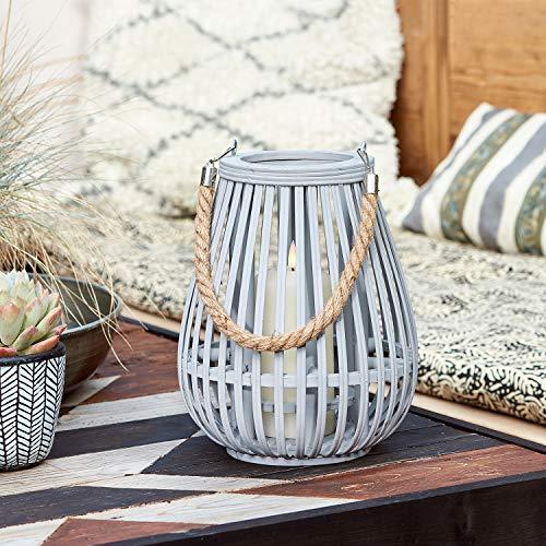 Lights4fun Graue Bambus Laterne inkl. TruGlow® Kerze mit Timer für Innen & Außen 26cm