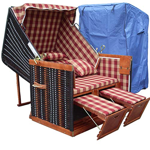 XINRO® - XY-11 - Terrasse Strandkorb Nordsee inkl. Luxus Strandkorb Schutzhülle, 4x Kissen - Karo rot - braunes Holz, NordseeStrandkorb