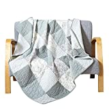 Soul & Lane Memory Lane 100% Cotton Patchwork Bedding Quilted Throw - 50' x 60' | Sage Lap Bedding Quilt for Couch and Bed