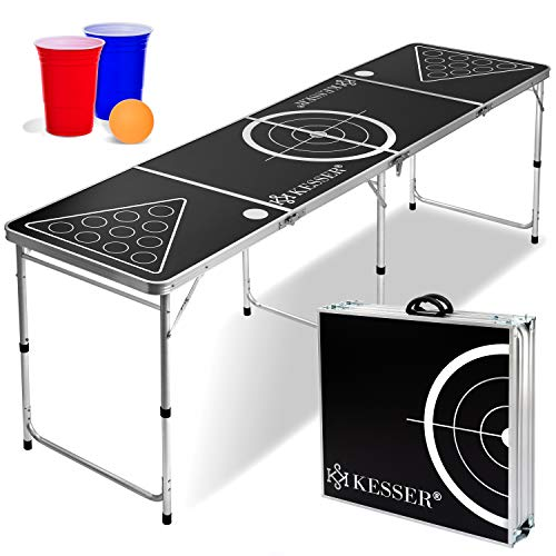 KESSER® Beer Pong Tisch Set - inkl. 100 Becher (50 Rot & 50 Blau), 6 Bälle, + Regelwerk (Classic)