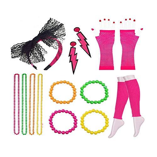 15 Piezas 80s Disfraces Traje Conjunto, 80s Disfraces Conjunto Chica Para Despedidas Soltero, Vestidos Fiesta, Juegos Rol(Rosa Roja)