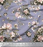 Soimoi Grau Poly Georgette Stoff Blätter & Rose Blumen-