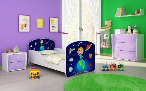 Clamaro 'Traumland' Motiv Kinderbett 70 x 140 cm inkl. Matratze und Lattenrost, Kantenschutzleisten und Rausfallschutz, Motiv: 22 - Cosmos Motiv