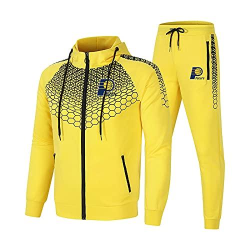 EFXCHSY Conjunto de chándal para hombre y mujer Traje de jogging Jersey Pacers Suéter con capucha a rayas de 2 piezas + Pantalones traje deportivo Hombres/Amarillo/M