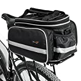 Disconano Waterproof Multi Function Excursion Cycling Bicycle Bike Rear Seat Trunk Bag Carrying Luggage Package Rack Pannier with Rainproof Cover (Black)