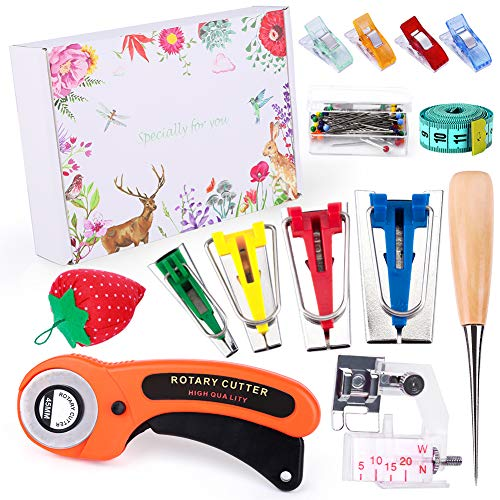 Fabric Bias Tape Makers Kit with Rotary Cutter, Sewing Clips, Sewing Machine Presser Foot, Rotary Cutter for Fabric, Sewing Bias Tape Maker Kit Fabric and Quilting
