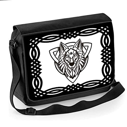 Ice-Tees-Triquetra Trinity Knoten, Norse, Mytholgy, Valnut Wolf – Unisex Messengertasche