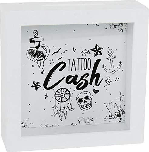 Topshop24you wunderschöne Spardose Tattoo Cash aus MDF zum Hängen oder Stellen Größe ca. 15 cm