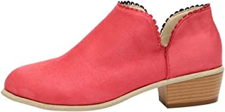 Limsea 2018 Women Round Toe Shoes Retro Square Heel Solid Color Suede Zipper