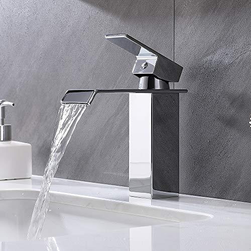 Delicaho Grifo monomando para baño con cascada, cromado