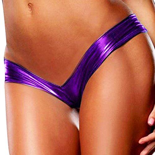 YiZYiF Women's Metallic Patent Leather Micro G-String Panty Thong Purple