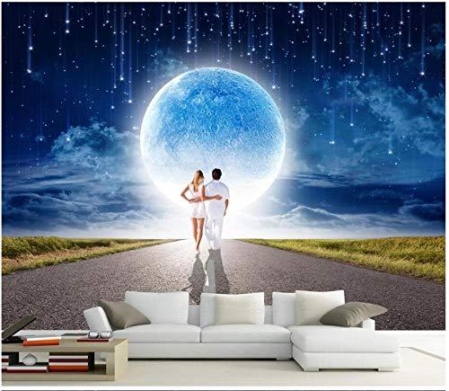 MINCOCO 3D Wallpaper Aangepaste muurschildering Meteor Douche Onder Romantische Maan Thuis Verbetering 3D Muurschilderingen Behang voor Muur 3D Print Stof 300x210cm(118.1x82.7inches)
