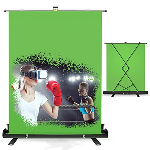 Julius Studio 5 ft.(W) x 6 ft.(H) Collapsible Green Chromakey Panel Screen, Background Stand with Aluminum Hard Case, Backdrop Stand Frame, Easy Setup, Wrinkle Resistant, Auto-Locking Frame, JSAG445