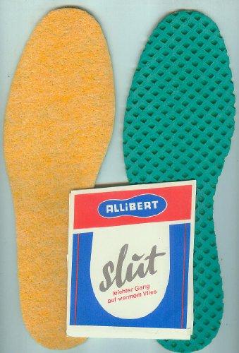 Allibert slut - 1 Paar Einlegesohlen-dichte,warme Vliesauflage schützt vor Bodenkälte,angenehmer Gehkomfort,besonders elastisch, mit Latex-Waben-Rutschsicherung - max. Länge 28,6 cm, max. Breite 9,1 cm [Art. 41608] Gr. 44