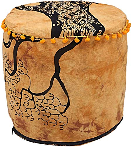 Charoli Enterprises Indian Handmade Round Ottoman Pouf Indian Living Room Pouf, Foot Stool, Round Ottoman Cover Pouf, Floor Pillow Ottoman Floor Cushion Cover (18'' x 18''x 13'') (18'' x 18'' x 13'')