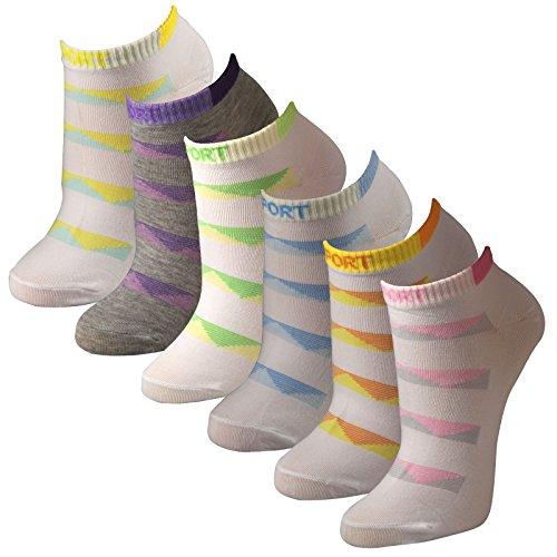 Lavazio 12 Paar sportliche Sneaker Socken für Damen in weiß, grau Qualität, Farbe:mehrfarbig, Größe:35-38