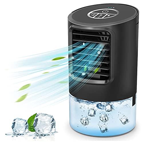 AIMIUVEI Aire Acondicionado Portátil 4 en 1 Enfriador de Aire Ventilador Purificador de Humidificador, 3 Velocidades, 2/4h Temporizador, 7 Colores LED, Mini Acondicionador para Oficina Hogar