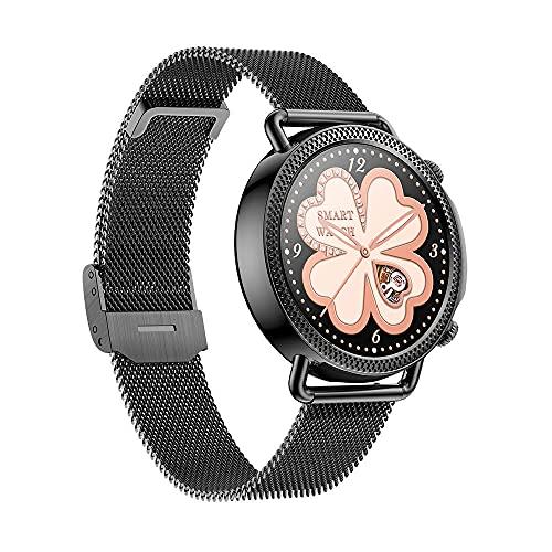 Smart Watch de Las Mujeres Todo el Contacto Completo Redondo Que supervisa la Temperatura del Empuje de Encargo dial-Negro B