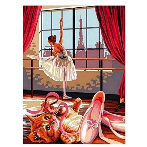 XXSCZ Pintura por números Chica DIY para Colorear Kits Pintados a Mano Dibujo Lienzo Bailarina de Ballet Imágenes Figura Decoración para el hogar Sin Marco