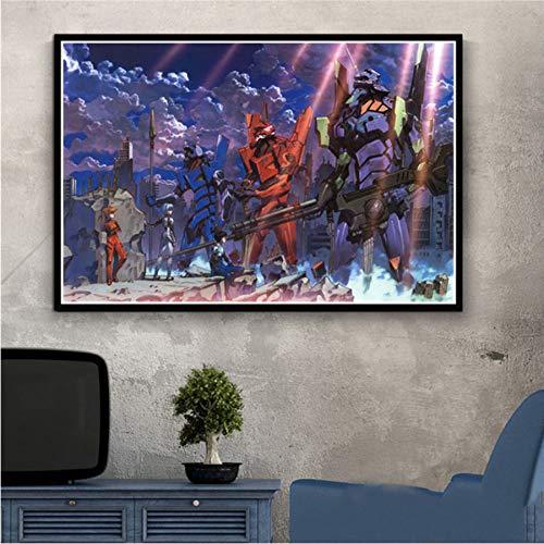 MXIBUN Pintura sobre Lienzo Genesis Evangelion Japón Anime Cartel Impresión Cuadro de Arte de Pared Regalo Decoración para el hogar sin Marco 40 * 60 cm