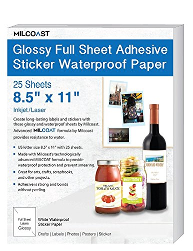 """Milcoast Glossy Full Sheet 8.5"""" x 11"""" Adhesive Waterproof Photo Craft Paper - Works with Inkjet/Laser Printers - for Stickers, Labels, Scrapbooks, Bottle Labels, Arts and Crafts (25 Sheets)"""