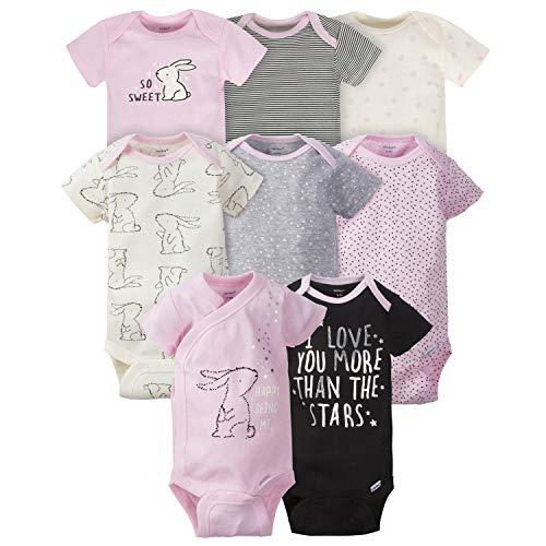 Gerber 8 Pack Short Sleeve Onesies Bodysuits Conjunto de playeras para bebés y niños pequeños, conejito, prematuro