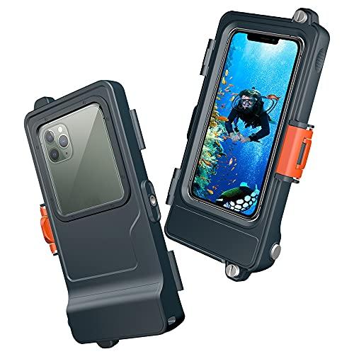 Pakiloof Funda impermeable para teléfono móvil, carcasa de buceo, extremadamente resistente para actividades al aire libre y deportes, playa, piscina, universal, apta para muchos modelos de iPhone.