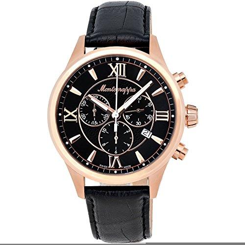 Montegrappa Fortuna Chronograph Quartz Uhr, Schwarz, 42mm., PVD Roségold