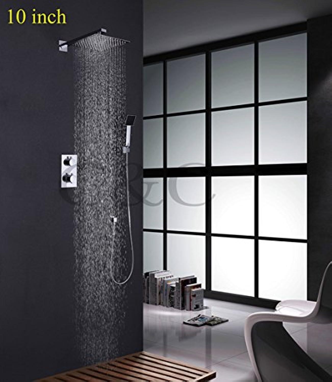 Galvanik Retro Wasserhahn Luxus 8-10-12 Zoll thermostatische Badezimmer Dusche Wasserhahn mit Ultra-dünne Regendusche Kopf- und Handbrause, Gelb