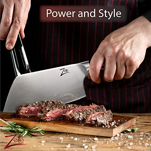 Forged Heavy Duty Meat and Vegetable Cleaver Knife by Zelite Infinity (7 inch) - Alpha-Royal German Series - German High Carbon Stainless Steel - For Professional Chefs and Home Cooks