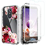 ACKETBOX LG Stylo 4 Phone Case,Hybrid Impact Defender Shockproof Flofal Design Three Layer Full-Body Protective PC Back Case+Bumper and TPU Cover for LG Stylo 4(Flowers-03)
