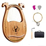 Lyre Harp,16 Metal String Harp Solid Wood Mahogany Lyre Harp with Tuning Wrench Spare String Carry Bag,Suitable Music Lovers Beginners Children Adults