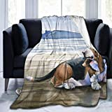 OUCUCK Mantas para Cama, Crazy Basset Hound Micro Fleece Blanket Throw Twin Travel Size Extra Lightweight-Fall Winter All Season for Indoor Outdoor Gifts Size 50x40 in, 60x50 in, 80x60 in