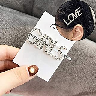 JIANGNIAU Fashion Fashion Luxury Crystal Rhinestones Hair Clips Women Letters Hairgrip Headwear(Boys) (Color : Girls)